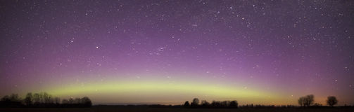 Northern Lights Panorama Over Night Sky Royalty Free Stock Images