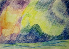 Northern lights. The pencil drawing Stock Images