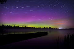 Northern lights in Poland. The area of Suwalki  07.10.2015 Stock Photography