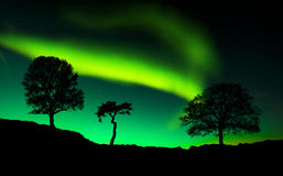 Northern lights reflect on the lake. Amazing northern lights reflect on the lake Stock Image