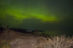 Northern Lights over a Lake in Minnesota during Summer. Northern Lights Shot over Lake Superior Northern Minnesota in Summer stock photo