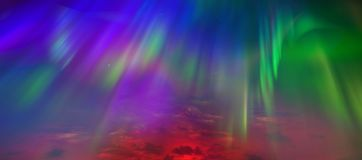 Northern lights, sky close-up. All colors are razhugi. Great view. The whole palette of colors in the same sky royalty free stock image