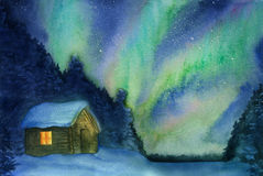 Northern lights, snow and cottage. Hand-drawn with watercolor Royalty Free Stock Images