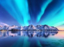 Northern lights and snow covered mountains in Lofoten islands, Norway. Aurora borealis. Starry sky with polar lights and snowy rocks reflected in water. Night royalty free stock image