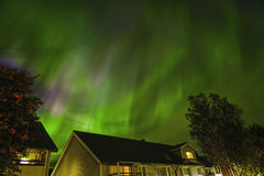 Northern lights in Sweden. Northern lights blazing over my house Stock Image