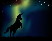 Northern Lights Unicorn. Unicorn rears on northern lights aurora background Stock Images