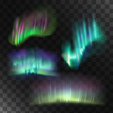 Northern lights vector set. Abstract blue lights Stock Photo
