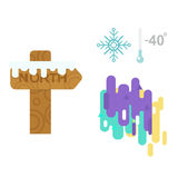 Northern lights and wooden sign post vector illustration. Royalty Free Stock Photography
