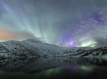 Northern lightspanorama of scandinavia norway. Panorama form image of Aurora borealis and winter landscape, snowcovered mountains and hills nearby lake. cold stock photo