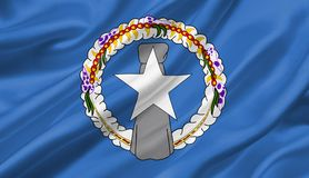 Northern Mariana Islands flag waving with the wind, 3D illustrat. Ion Stock Photos