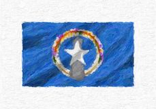Northern Mariana Islands hand painted waving national flag, oil. Paint isolated on white canvas, 3D illustration Stock Photo