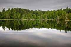 Northern Michigan Wilderness Lake Nature Background. Northern Michigan Wilderness Lake. Wilderness lake with forest reflections in the water and copy space in Stock Photo