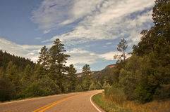 Northern New Mexico Highway. From Los Alamos to Jemez through the forest stock image