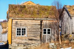Northern Norway hut. Traditional old wooden hut in Northern Norway Stock Photos