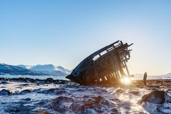 Northern Norway. Teenage boy exploring shipwrecked wooden viking boat in Northern Norway Royalty Free Stock Image