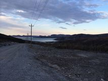 Northern ocean view. View of the ocean coming down a road on Nain Newfoundland and Labrador Royalty Free Stock Images