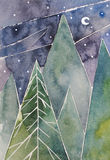 Northern pine forest at night. Abstract watercolor painting.  Stock Photo