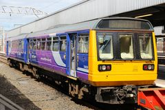 Northern Rail train. STOCKPORT, UK - APRIL 23: Northern Rail train on April 23, 2013 in Stockport, UK. NR is part of Serco-Abellio joint venture. NR has fleet of Royalty Free Stock Image