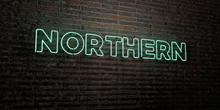 NORTHERN -Realistic Neon Sign on Brick Wall background - 3D rendered royalty free stock image Stock Photo