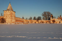 Northern Russian monastery in winter. Stock Photo