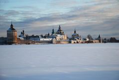 Northern Russian monastery in winter. Royalty Free Stock Photo