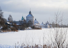 Northern Russian monastery in winter. Stock Photography