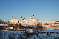 Northern Russian monastery in winter. Royalty Free Stock Photography