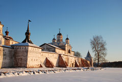 Northern Russian monastery in winter. Stock Image
