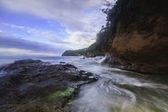 Northern Saint Lucia Coastline. Waves rushing in along the northern coastline of Saint Lucia Royalty Free Stock Image