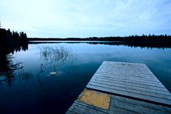 Northern Saskatchewan Lake. Wilderness in Canada calm Royalty Free Stock Image