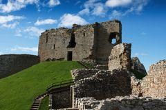 Ruins of Duffus Castle, Scotland. In northern Scotland the ruins of a 12c castle is a tourist attraction adjacent to the Speyside Whisky Trail Stock Photo