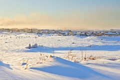 Northern settlement in winter. In the Arctic Stock Images