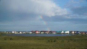 Northern settlement on the Yamal Peninsula. stock footage