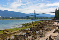 Northern Shore of Stanley Park landscape during low tide, Vancouver, Canada. Royalty Free Stock Photography