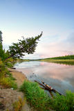 Northern Siberian river in summer Stock Photos