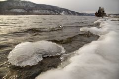 Northern, Siberian river in the winter. The river. A winter landscape. Ice, water. A river coast Stock Images