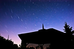 Northern sky at night. Stars movement, long exposure Royalty Free Stock Photography
