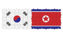 Northern and southern Korea in form of puzzle stock photography