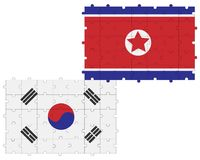Northern and southern Korea in form of puzzle stock image