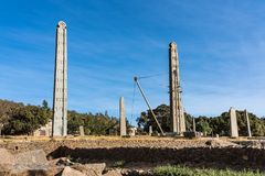 The Northern Stelae Park of Aksum, famous obelisks in Axum, Ethiopia stock images