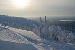 Northern sun. Cold northern winter sun in the mountains Royalty Free Stock Photo