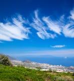 Northern  Tenerife, view over Puerto de La Cruz towards La Palma Stock Image
