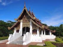 Northern Thai art church under blue sky. Northern-styled Thai art in public church under blue sky, Chiangrai, Thailand Royalty Free Stock Photos