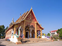 Northern Thai art temple under blue sky Royalty Free Stock Photo