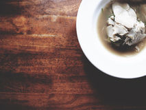 This is northern Thai bamboo shoot soup in white plate above woo Stock Photos