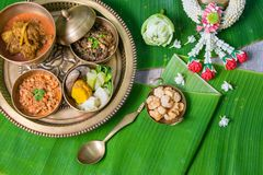 Northern Thai food. With banana leaf background Stock Images