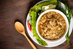 Northern Thai food Mob Poo. Spicy soup with crab, egg and vegetables stock photography