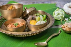 Northern Thai food. With banana leaf background Royalty Free Stock Photography