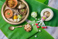 Northern Thai food. With banana leaf background Stock Image