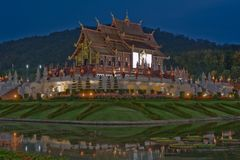 Northern Thai style architecture at night. Stock Photography